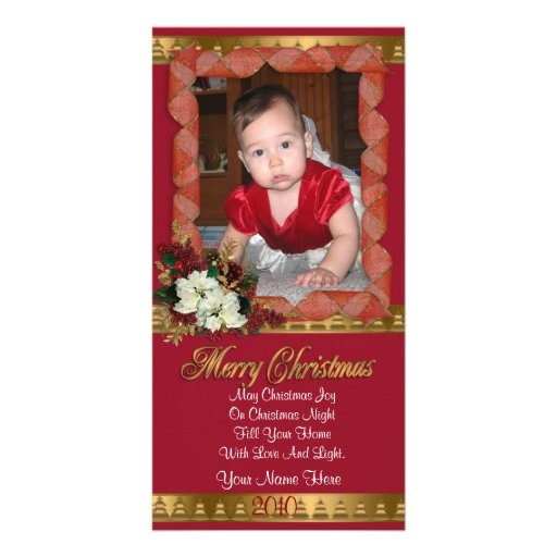 Christmas photo card classic red and gold