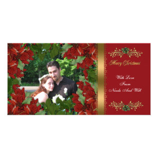 Christmas photo card classic red poinsettias