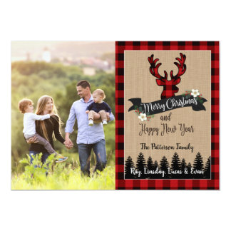 Christmas Photo Card Deer and Buffalo Plaid