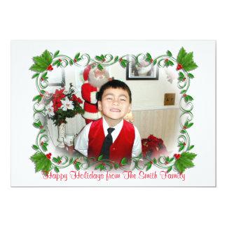 Christmas photo card Holly frame 13 Cm X 18 Cm Invitation Card