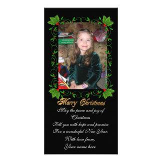 Christmas photo card holly frame on black