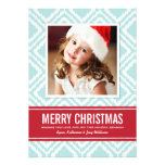 Christmas Photo Card | Red and Blue Ikat Pattern Custom Invite