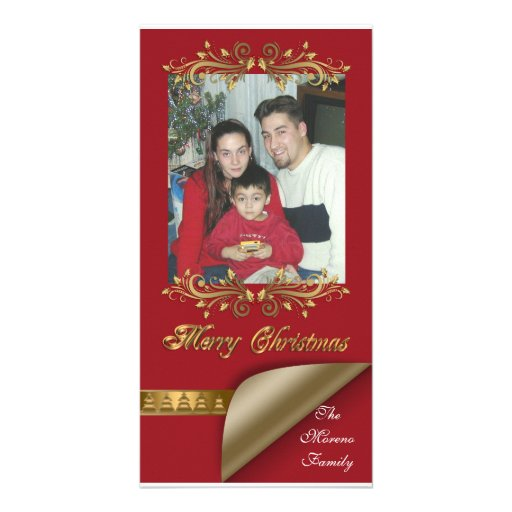 Christmas Photo card red and gold classic