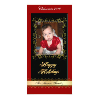 Christmas photo card red black gold classic