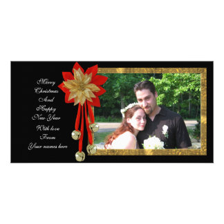 Christmas Photo Card red gold black