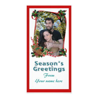Christmas photo card ribbons and candy