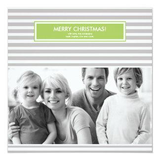 Christmas Photo Card - Stripes - Customizable 13 Cm X 13 Cm Square Invitation Card
