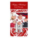 Christmas Photo Card Swirls Red Jewel Bow White