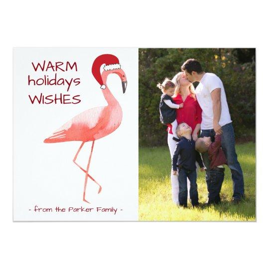 Christmas photo card with funny Flamingo Santa Hat