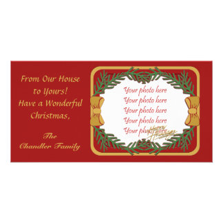 Christmas photo card with greenery and bows