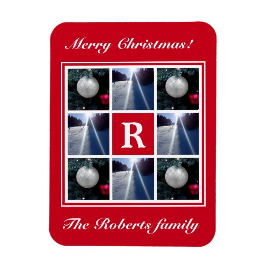 Christmas photo collage Custom Holiday monogram Magnet