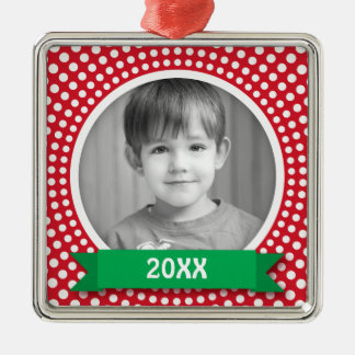 Christmas photo frame white dot snow border on red christmas ornament