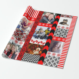 Christmas Photo Montage of 9 Family Portraits Wrapping Paper