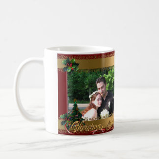 Christmas photo mug ribbons and holly