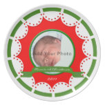 Christmas Photo Plate in Red, White and Green