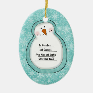 Christmas Photo Snowman Customizable Date and Name Christmas Ornament