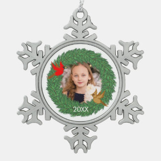 Christmas Photo with Cardinals in Evergreen Wreath Snowflake Pewter Christmas Ornament