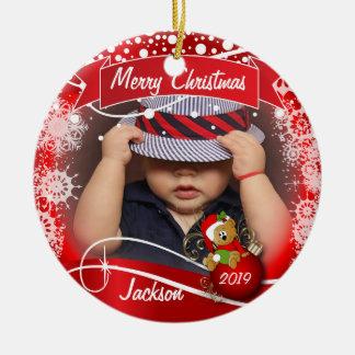 Christmas Photo with Santa Bear on Red Round Ceramic Decoration