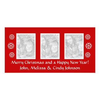 Christmas photocard template for three photos customized photo card