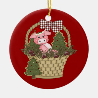 Christmas Pig In A Basket Ornament