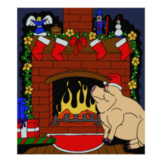 Christmas Pig Poster