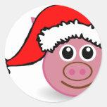 christmas pig round sticker