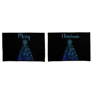 Christmas Pillow Cases Black Teal Christmas Trees
