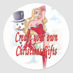CHRISTMAS PIN UP ROUND STICKERS