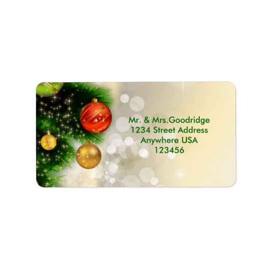 Christmas pine and baubles Avery Address Label