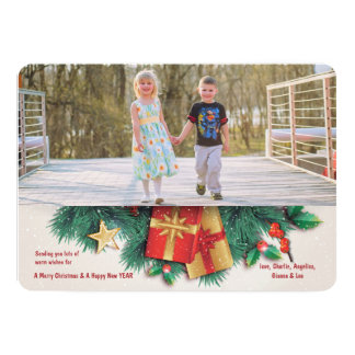 Christmas Pine and Presents Photo Holiday Card 13 Cm X 18 Cm Invitation Card