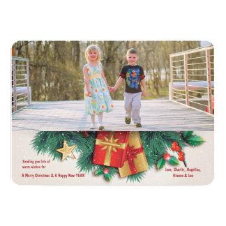 Christmas Pine and Presents Photo Holiday Card 13 Cm X 18 Cm Invitation Card