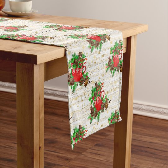 Christmas pine cones short table runner