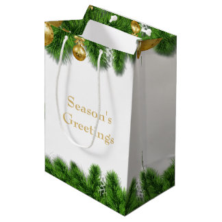Christmas Pine Garland Gold Christmas Balls Medium Gift Bag
