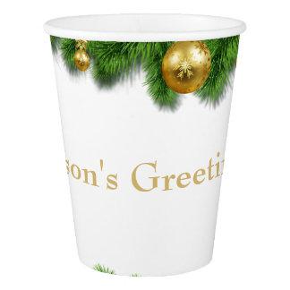 Christmas Pine Garland Gold Christmas Balls Paper Cup