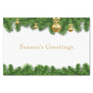 Christmas Pine Garland Gold Christmas Balls Tissue Paper
