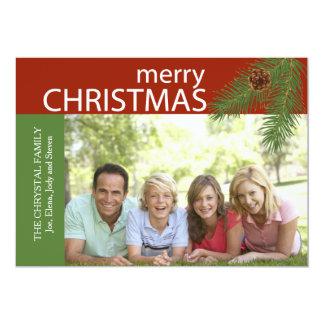 Christmas Pine Holiday Photo Card 13 Cm X 18 Cm Invitation Card