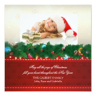 Christmas Pine Photo Holiday Card 13 Cm X 13 Cm Square Invitation Card