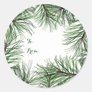 Christmas Pine Round Stickers