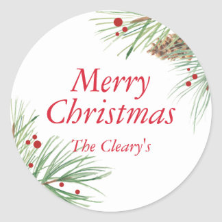 Christmas Pine Watercolor | 2016 Chrismas Classic Round Sticker