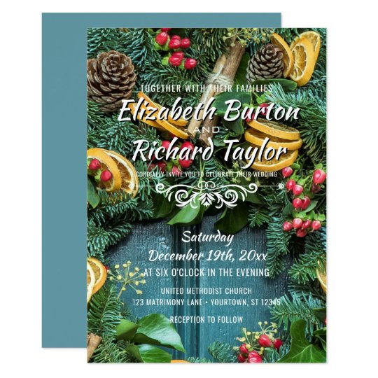 Christmas Pine Wreath Holiday Winter Wedding Card