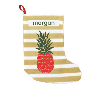 Christmas Pineapple in Red Green and Gold Stripes Small Christmas Stocking