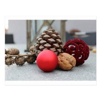 Christmas pinecones and decor postcard