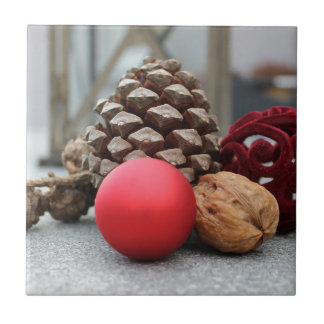 Christmas pinecones and decor small square tile