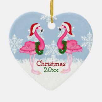 Christmas Pink Flamingo Wearing Santa Hats Christmas Ornament