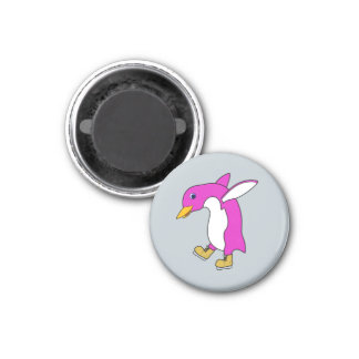 Christmas Pink Penguin with Gold Ice Skates 3 Cm Round Magnet