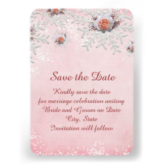 Christmas Pink Roses Snowflakes Save the date Invites