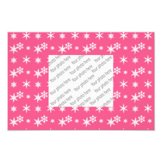 Christmas pink snowflakes pattern photo print