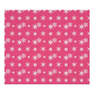 Christmas pink snowflakes pattern print