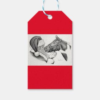 Christmas Pinto Paint Horse and Santa Gift Tags