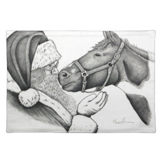 Christmas Pinto Paint Horse and Santa Placemat